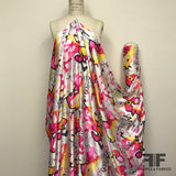 Graffiti Abstract Neon Printed Silk Charmeuse - Pink/Yellow - Fabrics & Fabrics