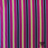 Multi Vertical Striped Printed Silk Crepe de Chine - Purple - Fabrics & Fabrics