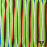 Multi Vertical Striped Printed Silk Crepe de Chine - Green - Fabrics & Fabrics