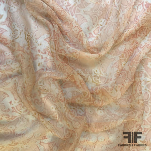 Abstract Floral Silk Chiffon - Peach/Off-White - Fabrics & Fabrics