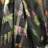 Italian Metallic Plaid Floral Silk Organza - Black/Multicolor - Fabrics & Fabrics