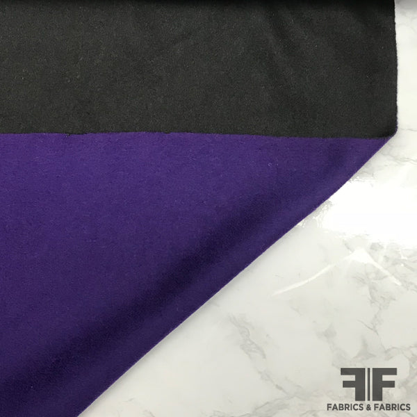 Italian Double-Sided Wool Coating - Purple/Black - Fabrics & Fabrics