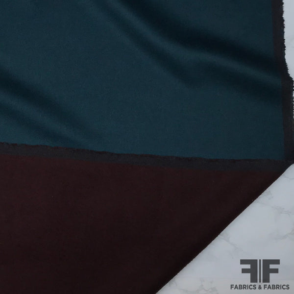 Double-Faced Reversible Wool Coating - Burgundy/Teal - Fabrics & Fabrics