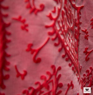 Abstract Paisley Woven Brocade - Pink/Red