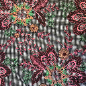 Floral Embroidered Netting - Pink/Black/Multicolor