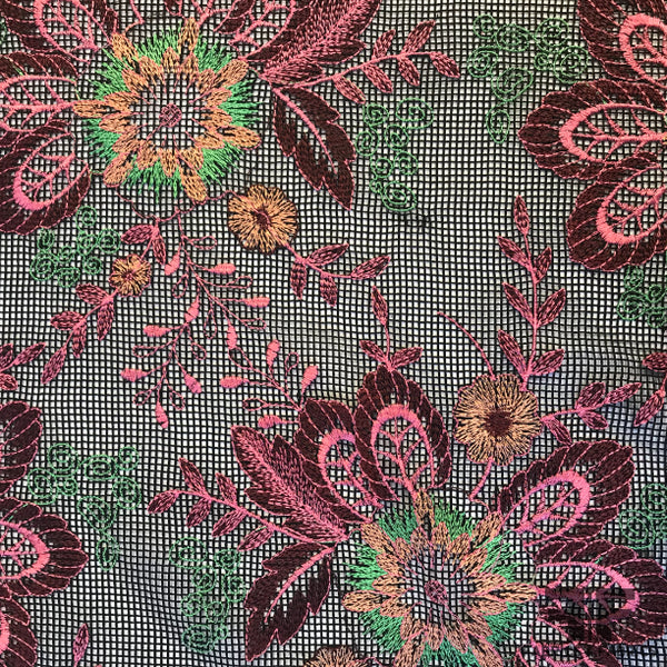 Floral Embroidered Netting - Pink/Black/Multicolor - Fabrics & Fabrics