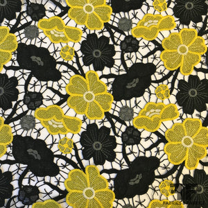 Floral Guipure Lace - Yellow/Black