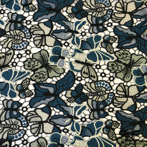 Butterfly Guipure Lace - Black/Blue/White - Fabrics & Fabrics