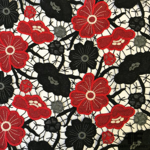 Floral Guipure Lace - Red/Black