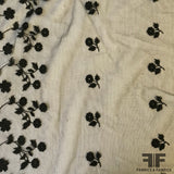 Border Pattern Floral Embroidered Tulle - Black - Fabrics & Fabrics