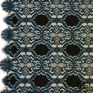Scalloped Leavers Lace - Blue/Black