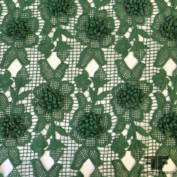 3D Floral Guipure Lace - Green - Fabrics & Fabrics
