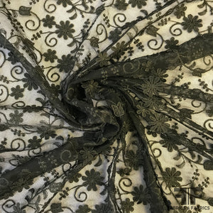 3D Floral Embroidered Netting - Black - Fabrics & Fabrics