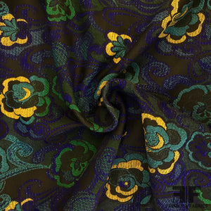 French Floral Brocade - Blue/Black/Multicolor - Fabrics & Fabrics