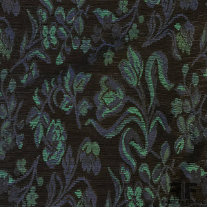 French Floral Tapestry Weave Brocade - Black/Blue/Turquoise