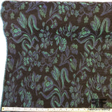 French Floral Tapestry Weave Brocade - Black/Blue/Turquoise - Fabrics & Fabrics