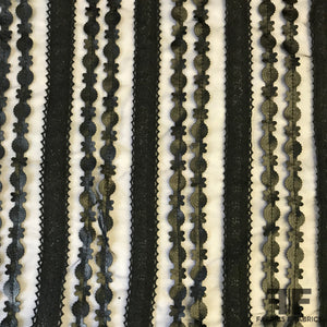 Embossed Faux-Leather / Crochet Ribbon on Organza - Black