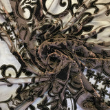 Floral Silk Burnout Velvet - Brown/Gold - Fabrics & Fabrics