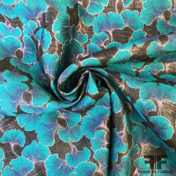 Metallic Floral Brocade - Turquoise/Black