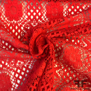 Floral Crochet Lace - Red - Fabrics & Fabrics
