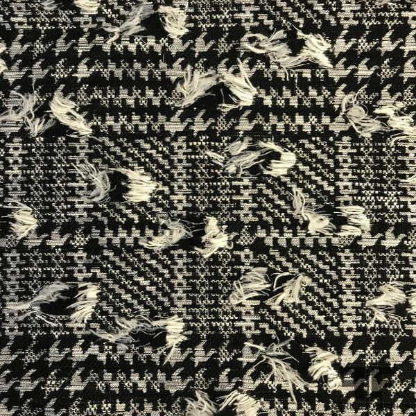 Novelty Fringed Metallic Houndstooth Jacquard - Black/Silver/White