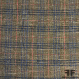 Italian Plaid Wool and Linen Suiting - Brown/Blue