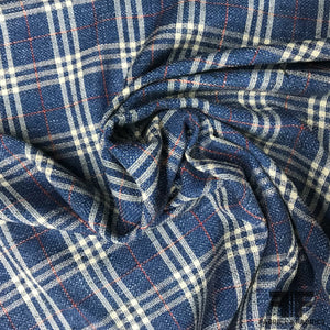 Italian Plaid Wool and Linen Tweed - Blue/White/Red