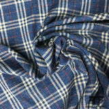 Italian Plaid Wool and Linen Suiting - Blue/White/Red