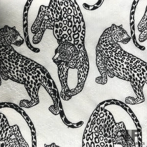 Cheetah Embroidered Novelty Lace - Black/White - Fabrics & Fabrics