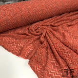 Chevron Wool Boucle Crochet Knit - Orange/Multicolor - Fabrics & Fabrics