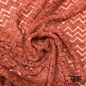 Chevron Wool Boucle Crochet Knit - Orange/Multicolor