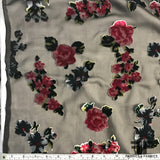 Rose Floral Cut Silk Velvet - Black/Pink/Green