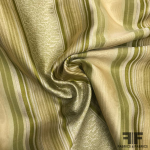 Silk Organza-Faced Jacquard - Olive/Tan/Off-White
