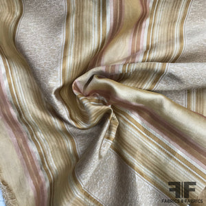 Silk Organza-Faced Jacquard - Pink/Tan/Off-White