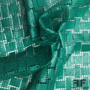 Italian Novelty Basketweave-Look Cotton Lace - Green