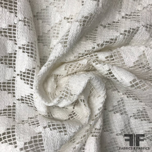 Italian Novelty Geometric Cotton Lace - White