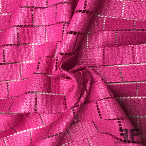 Italian Novelty Basketweave-Look Cotton Lace - Hot Pink