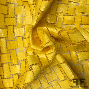 Italian Novelty Basketweave-Look Cotton Lace - Banana Yellow