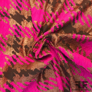 French Metallic Plaid Jacquard - Magenta, Copper, Black - Fabrics & Fabrics
