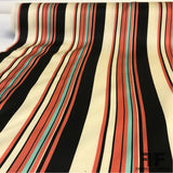 Striped Silk Charmeuse - Salmon/Aqua/Off-White/Black