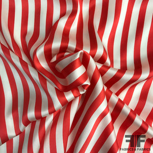 Candy Stripped Silk Charmeuse - Red/White - Fabrics & Fabrics