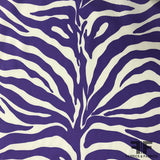 Zebra Striped Silk Charmeuse - Purple/White