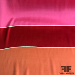 Wide-Striped Silk Charmeuse Panel - Pink/Tangerine/Red
