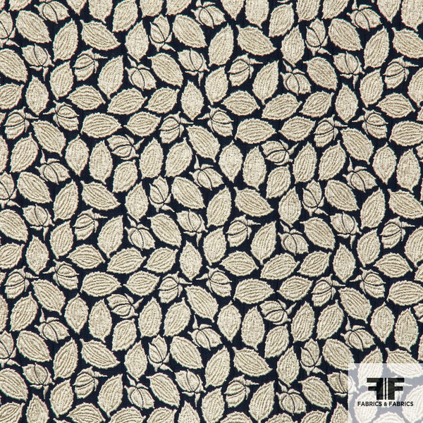 Metallic Floral Leaf Brocade fabric - Navy/Gold/Silver