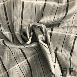Italian Yarn Dyed Silk Plaid - Silver/Black/White