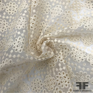 Eyelet/Embroidered Organza - Off-White - Fabrics & Fabrics
