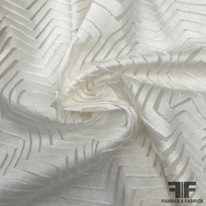 Italian Silk/Cotton Geometric Burnout - White