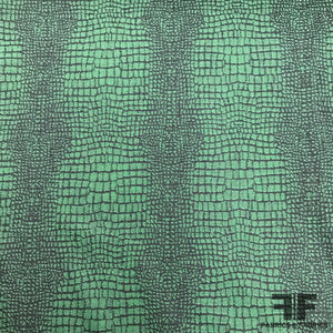 Italian Alligator Stretch Brocade - Green/Black