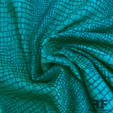 Italian Alligator Stretch Brocade - Green/Black - Fabrics & Fabrics