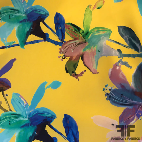 Painterly Floral Zibeline - Yellow/Multicolor